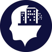 Human head silhouette with city icon on blue circle on background