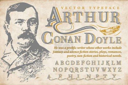 Sir Arthur Conan Doyle - vector typeface with writ...