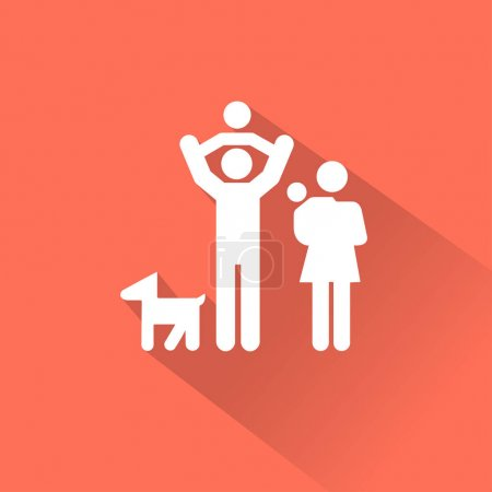 Illustration for Flat travel icon on red background. Vector illustration of family with dog - Royalty Free Image