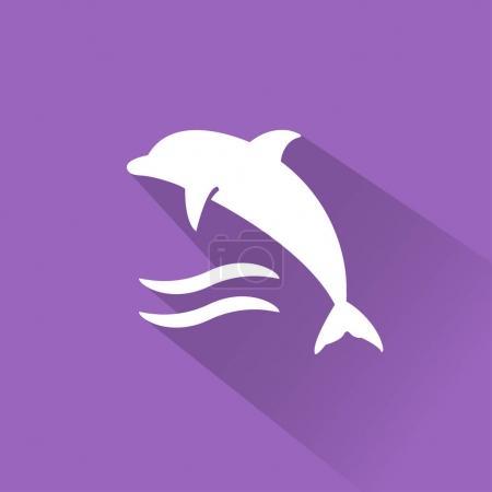 Photo pour Icône de voyage plat sur fond violet. Illustration vectorielle du dauphin - image libre de droit