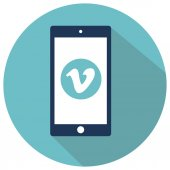 Flat smartphone icon on cyan background with vimeo icon on display