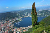 Amazing view of Como Lake from Brunate, panorama of the lake and the city of Como with green tree on the right and mountains on the bottom, Como summer 2016, Lombardy, Italy