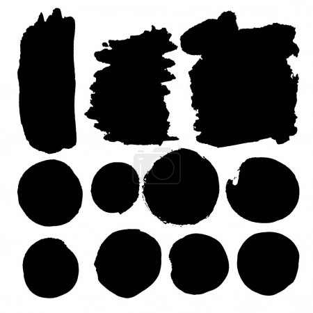 Foto de Set of watercolor spots in black. Ink banners, suitable for stickers, labels, badges, advertising, logo, frames with text and boxes. Dirty Textures painted with hands, brush strokes. Isolated. - Imagen libre de derechos