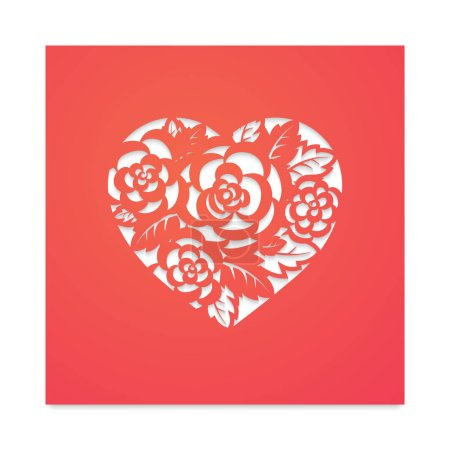 Template card heart with flowers for laser cutting...
