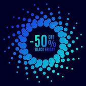 Black Friday sale Halftone dots circle Spotted flash  Vector poster