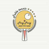 Logo League Table Tennis The modern style of  thin lines Badge Ping pong racket with a wreath of leaves and the inscription