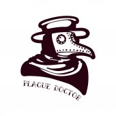 Plague Doctor Tattoo in the style of the old school Doctor in a bird mask and hat Old tape For prints posters t-shirts bags covers smartphones