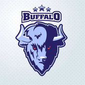 Buffalo Head Logo Mascot Emblem Talisman college sports teams e-sport bull school logo tattoo avatar print t-shirt The design of the character of a wild bison Vector illustration