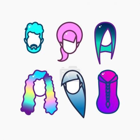 Dyed hair icon set.