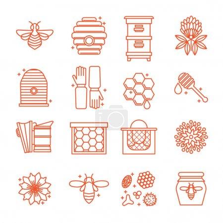Illustration pour Ensemble d'icônes de l'apiculture. Miel, Apiaire, ruches, abeilles, équipement, fleurs. Pour les produits écologiques de l'apiculture, la médecine cosmétique Dans un style linéaire - image libre de droit