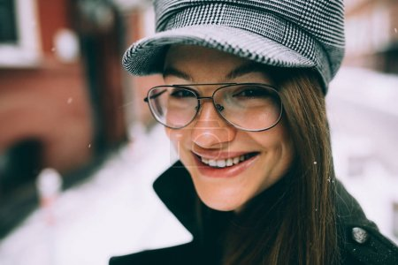 beautiful smile in the winter