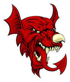 An illustration of the Welsh national symbol of the red dragon Y Ddraig Goch with the same features as on the flag of wales like the nose horn and tongue Great sports mascot