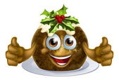 An illustration of a Christmas pudding cake mascot man character with holly on top