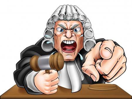 Illustration pour Dessin animé en colère juge personnage de dessin animé hurlant et pointant - image libre de droit