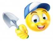Gardener Emoticon Emoji with Trowel