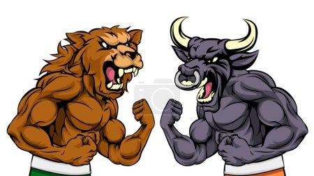 Illustration pour Un ours de bande dessinée combattant un personnage de mascotte de taureau de bande dessinée debout pour les ours versus taureaux métaphore du marché boursier - image libre de droit