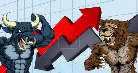 Illustration pour Concept financier d'un ours de bande dessinée combattant des personnages de mascotte de taureau devant un marché boursier ou un graphique de profit - image libre de droit