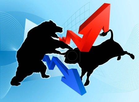 Illustration pour Concept boursier d'un ours silhouette combattant un personnage de mascotte de taureau devant un graphique financier ou de profit - image libre de droit
