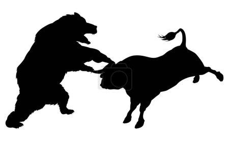 Illustration pour Taureau de combat ours en silhouette, debout pour les ours par rapport aux taureaux métaphore boursière en silhouette - image libre de droit