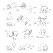 illustration of kids doing yoga