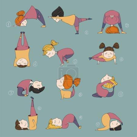Illustration pour Illustration des filles faire du yoga. enfants dans des postures d'yoga - image libre de droit