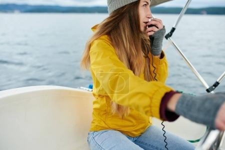 hipster woman on yacht