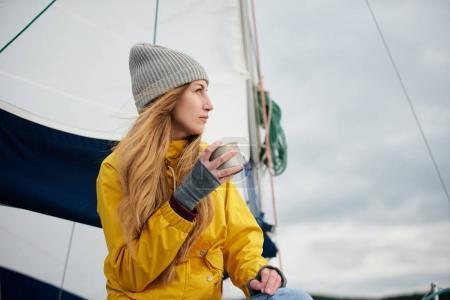 woman drink hot coffee