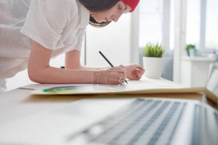 Designer working on sketches