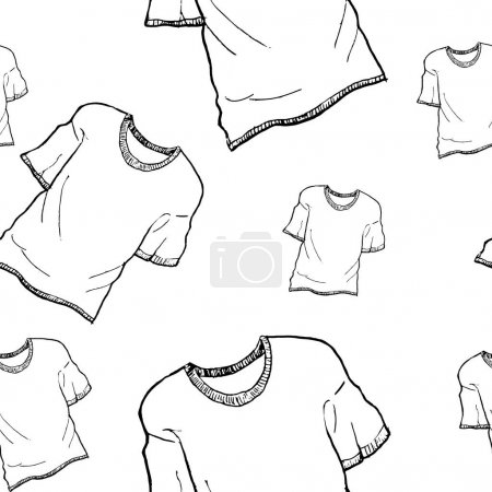Illustration for T-shirt sketch pattern. Hand painted t-shirt, seamless pattern on a transparent background. Black seamless vector pattern without background. - Royalty Free Image