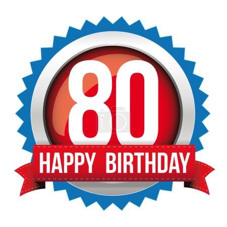 Illustration pour Ruban de badge joyeux anniversaire 80 ans - image libre de droit