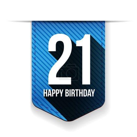 Illustration pour Vingt et un ans ruban joyeux anniversaire - image libre de droit