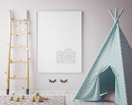 Photo for Mock up poster frame in children room, scandinavian style interior background, 3D render, 3D illustration - Royalty Free Image