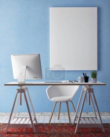 Photo pour Maquettes de cadres d'affiche en arrière-plan intérieur hipster, bureau à domicile, lieu de travail, rendu 3D - image libre de droit