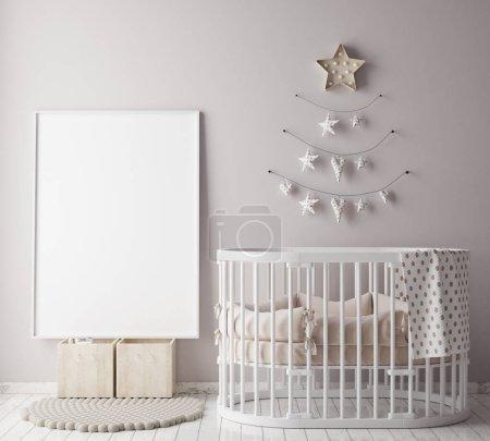 mock up poster frame in children room with christamas decoration, scandinavian style interior background, 3D render