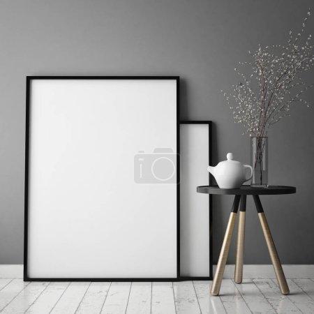 Photo for Mock up poster frame in hipster interior background, scandinavian style, 3D render, 3D illustration - Royalty Free Image