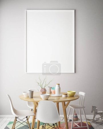 mock up poster frame in interior background with kids chair, scandinavian style, 3D render