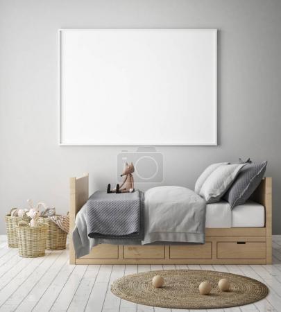 mock up poster frame in children bedroom, scandinavian style interior background, 3D render