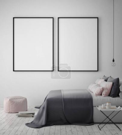 mock up poster frame in hipster bedroom interior background, scandinavian style, 3D render
