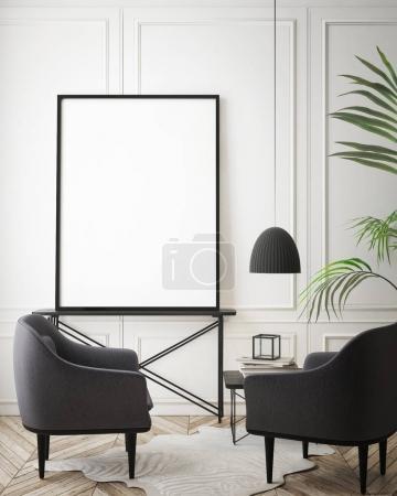 Photo pour Maquette cadre affiche en arrière-plan intérieur hipster, style scandinave, rendu 3D, illustration 3D - image libre de droit