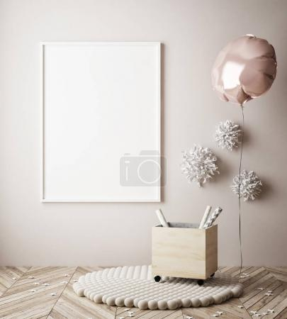 mock up poster in interior background with party decoration, 3D render
