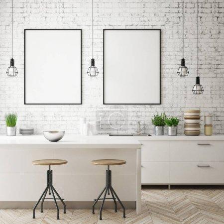 Photo pour Maquette image postérisée en fond intérieur de cuisine, style scandinave, rendu 3d, illustration 3d - image libre de droit