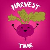 Vector cartoon illustration with beet.