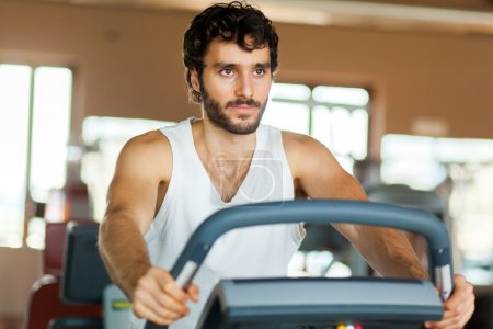 Man working out on a treadmill