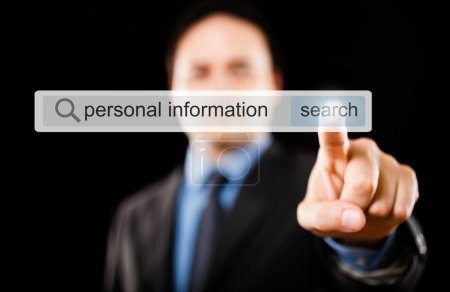 Businessman searching for personal informations on web