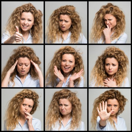 Photo for Collection of woman's facial expressions - Royalty Free Image