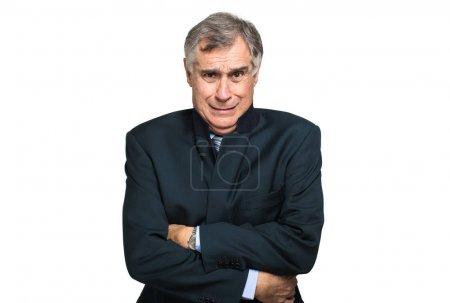 Photo pour Homme d'affaires âgé souffrant froid isolé sur fond blanc - image libre de droit