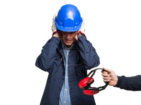Worker having ears pain