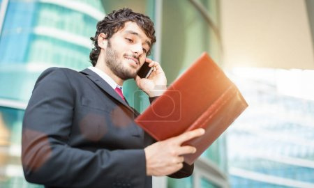 businessman reading notice