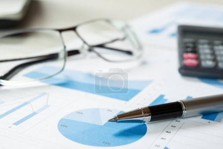 Financial documents on table