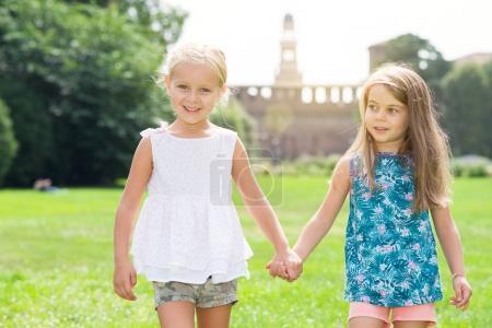 Children friends walking together